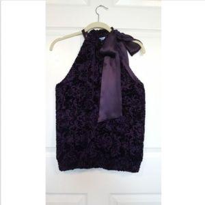 Antonio Melani Purple Silk Brocade Halter Top